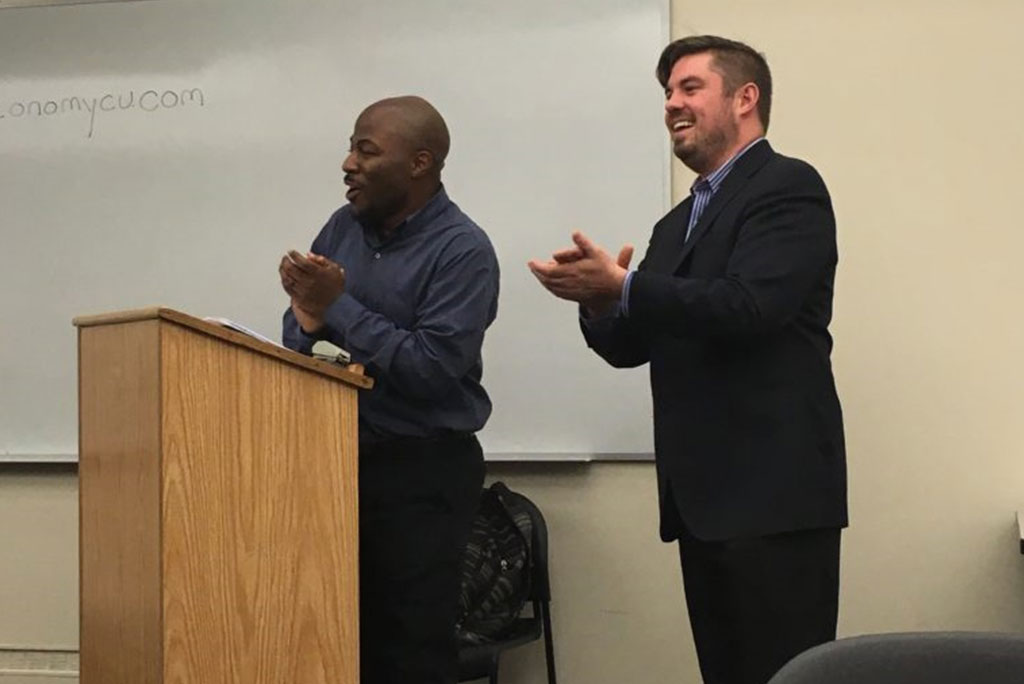 Alex and Rick Banks during a meeting for the New Economy Credit Union, a credit union geared towards expanding multi-racial wealth in the 53212 zip code on District 5